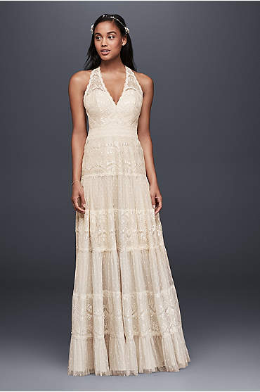 Mixed Lace A-line Halter Dress