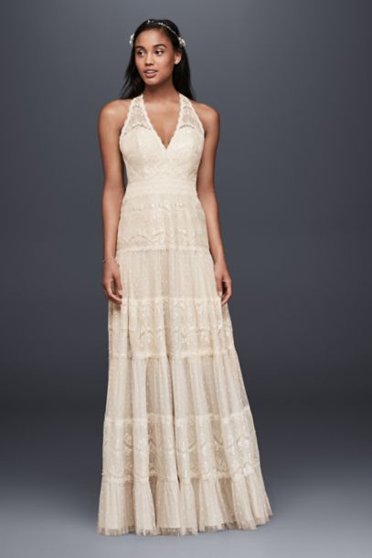 Mixed Lace A-line Halter Dress - Davids Bridal