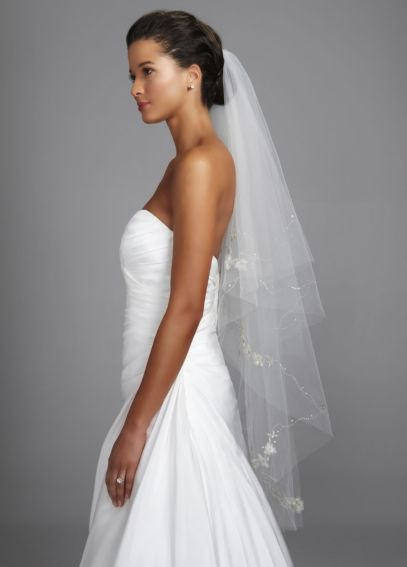 Walking Veil with Floral Motif and Cut Edge VCPK512