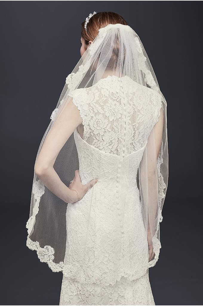 One Tier Veil with Pearl Embellished Alencon Lace - Beautiful one tier fingertip length veil adorned with