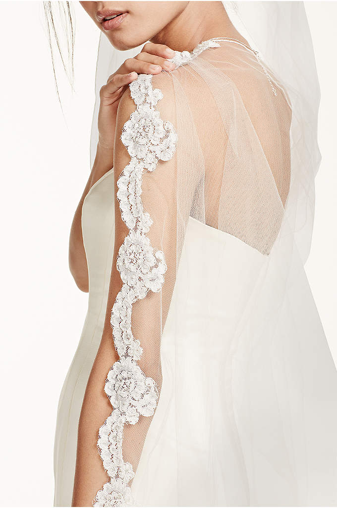Bridal Veil with Pearls and Alencon Lace Edge - Bridal cathedral length veil features a single tier