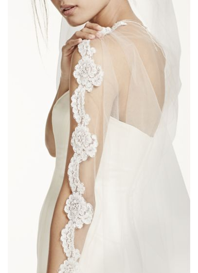 Bridal Veil with Pearls and Alencon Lace Edge - Wedding Accessories