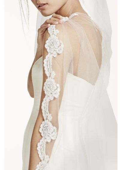 Bridal Veil with Pearls and Alencon Lace Edge VCRL538LONG