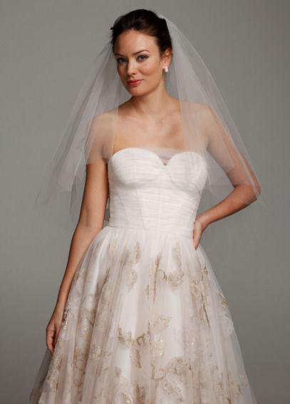 Mid Length Veil with Large Flower Appliques VCWG614