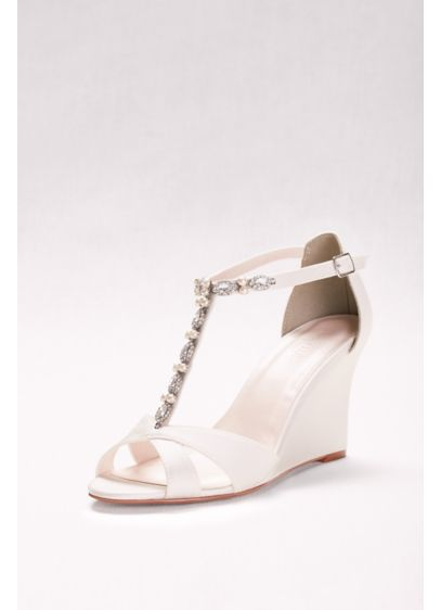 David's Bridal Ivory (Pearl and Crystal T-Strap Wedges)