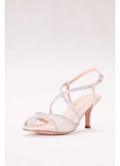 Low Heel Lace Sandals with Crystal Detailing - Wedding Accessories