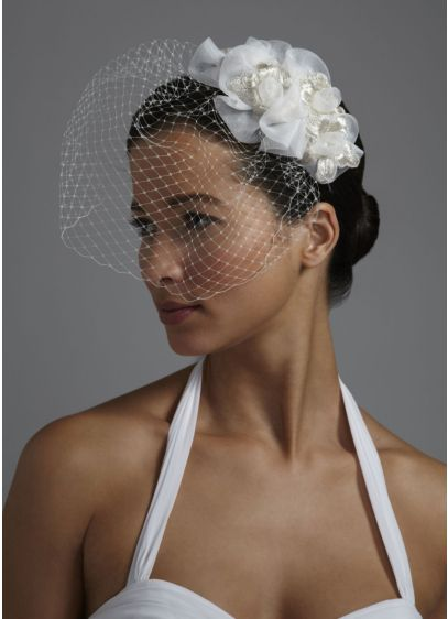 Russian Tulle Blusher with Organza Flowers - Wedding Accessories
