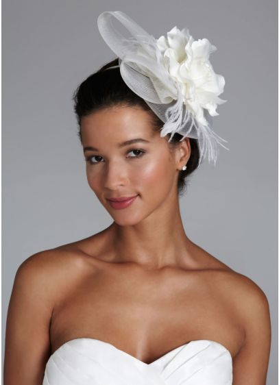 Flower and Feather Headband Hat - Wedding Accessories