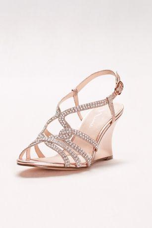 Embellished Strappy Wedge Sandals David S Bridal