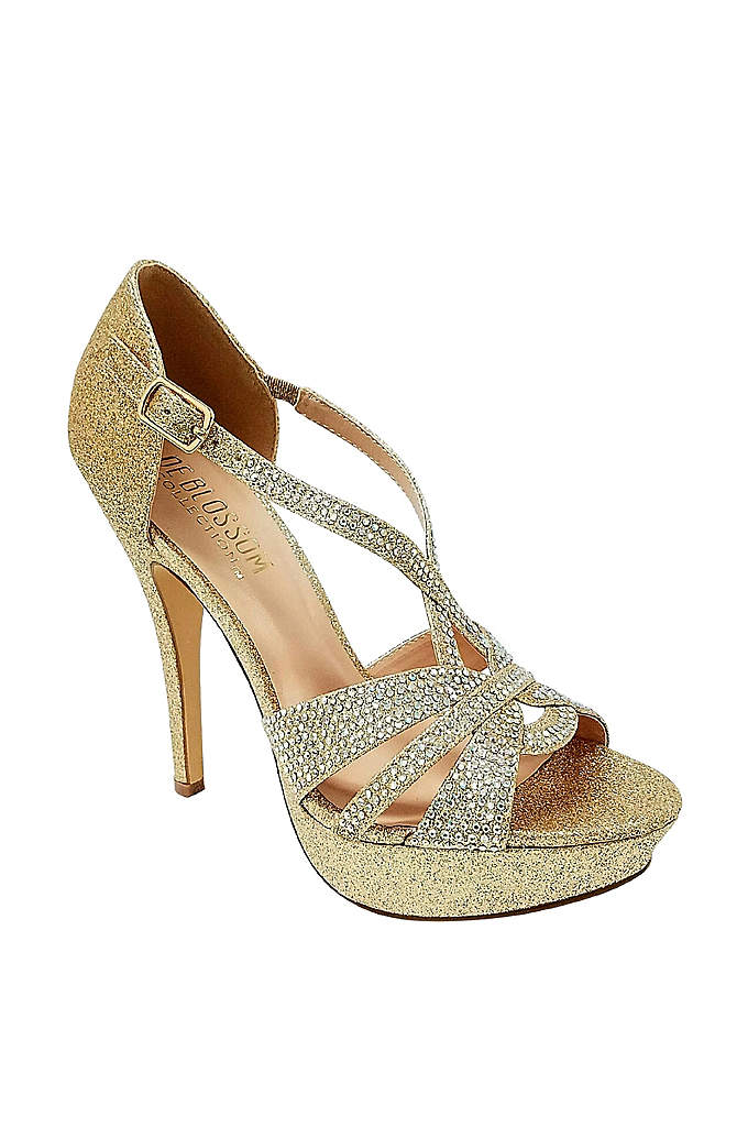 Crystal Embellished Strappy Stiletto Platforms - This high heel platform sandal is sure to