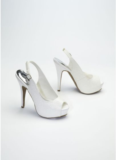 Grey (Glitter Peep Toe High Heel Slingback)