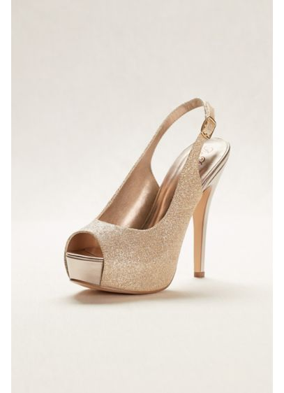 Glitter Sling Back Peep Toe High Heel | David's Bridal