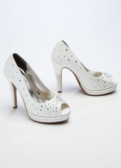 High Heel Peep Toe Platform with Crystal Detail VICKY