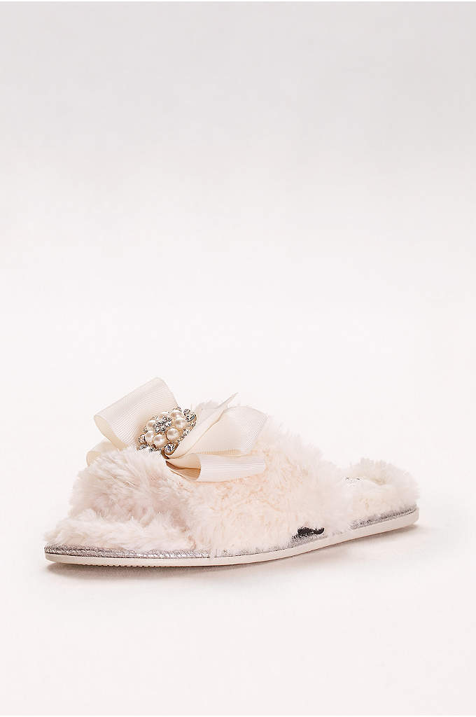 Faux-Fur Slippers with Jeweled Ribbon Bow - These bridal slippers will keep your toes toasty