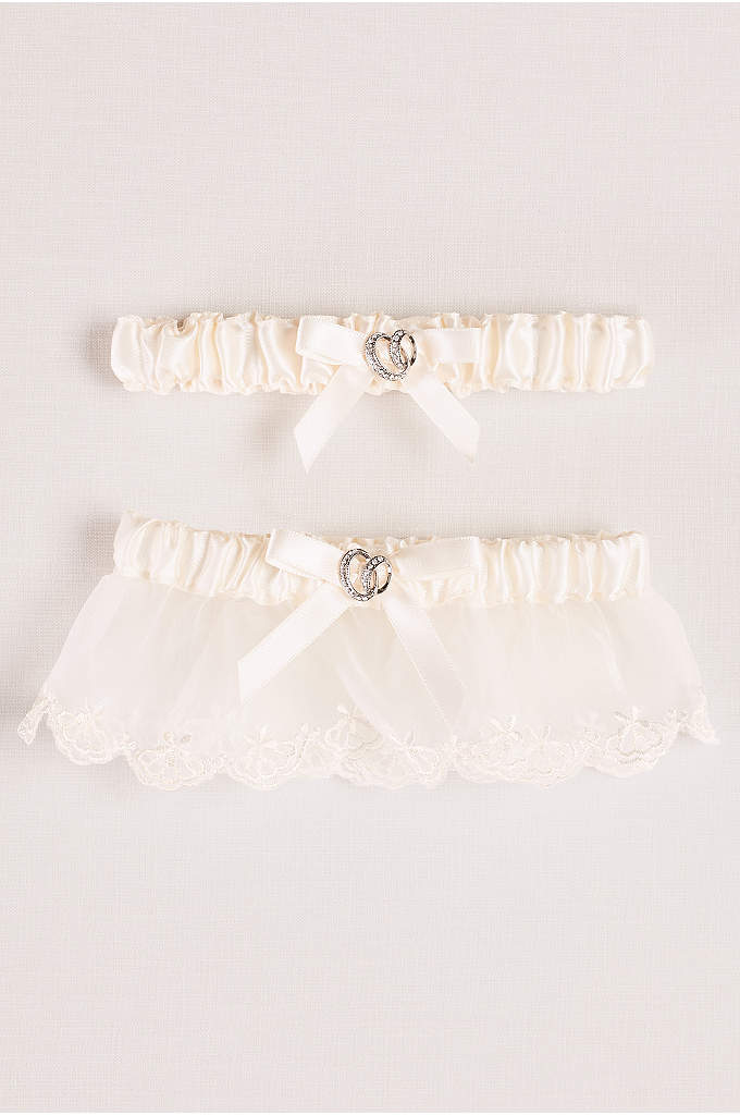 Adjustable Satin Garter Set with Bow - Satin and scalloped lace, plus a sweet bow