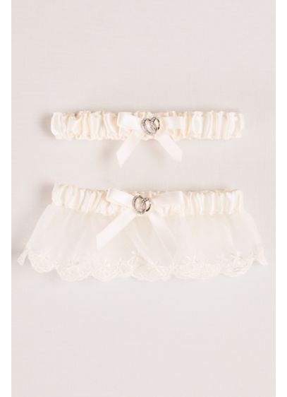 Adjustable Satin Garter Set with Bow - Wedding Accessories