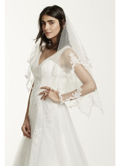 Two Tier Pointed Lace Edged Veil - Wedding Accessories