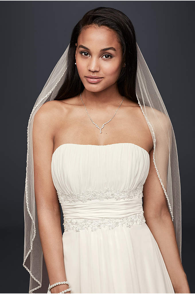 Bridal Elbow Length Veil, 1 Tier with Beaded - Elegantly edged with a stunning mix of pearls,