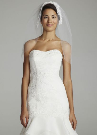 Elbow Length Veil with Beaded Floral Applique VMS003