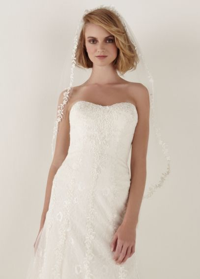 Mid Length Lace Veil with Floral Applique VMS251044
