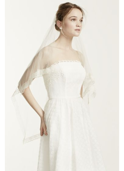 Lace Trim Silk Tulle Veil - Wedding Accessories
