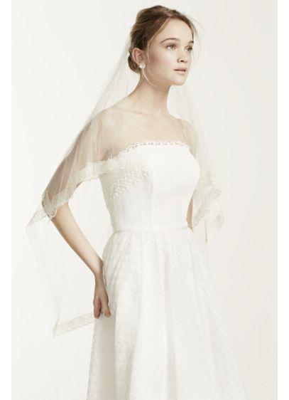 Lace Trim Silk Tulle Veil - Wedding Accessories