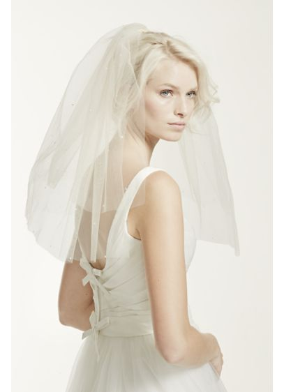 Double Layer Tulle Veil with Teardrop Accents - Wedding Accessories