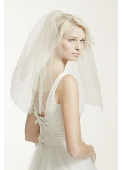 Double Layer Tulle Veil with Teardrop Accents VTH111