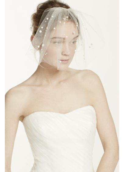 Mini Tulle Veil with Pearl Beading - Wedding Accessories