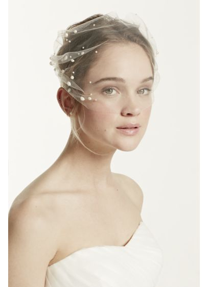 Tulle Blusher with Pearl Beaded Detail - Wedding Accessories