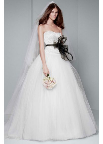 White by vera wang draped wedding dress vw351007 for Cheap vera wang wedding dress