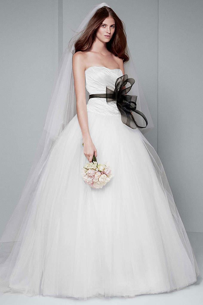 White by Vera Wang Draped Wedding Dress - Strapless taffeta gown with asymmetrically draped bodice, scooped