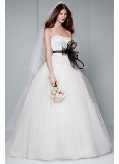 White by vera wang draped wedding dress davids bridal long ballgown simple wedding dress white by vera wang junglespirit Choice Image