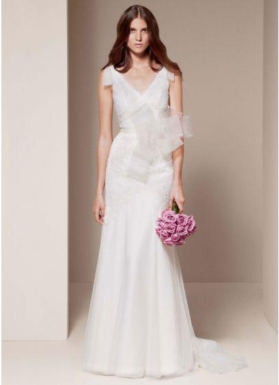 White by vera wang v neck a line wedding dress davids bridal for Vera wang v neck wedding dress