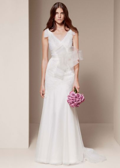 White by Vera Wang V Neck A Line Wedding Dress VW351021
