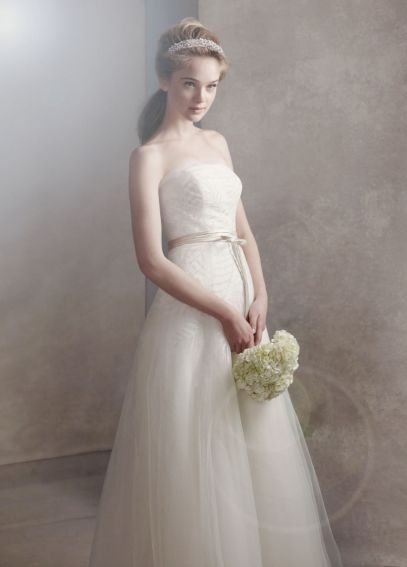 Organza Gown with Fern Embroidery and Net Overlay VW351062