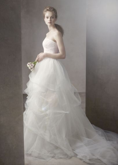 Ball Gown with Corded Lace Bodice and Tulle Skirt VW351065
