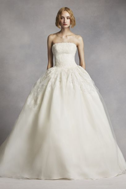 White by Vera Wang Twill Gazar Lace Wedding Dress | David's Bridal