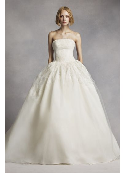 White by vera wang twill gazar lace wedding dress david for White vera wang wedding dresses
