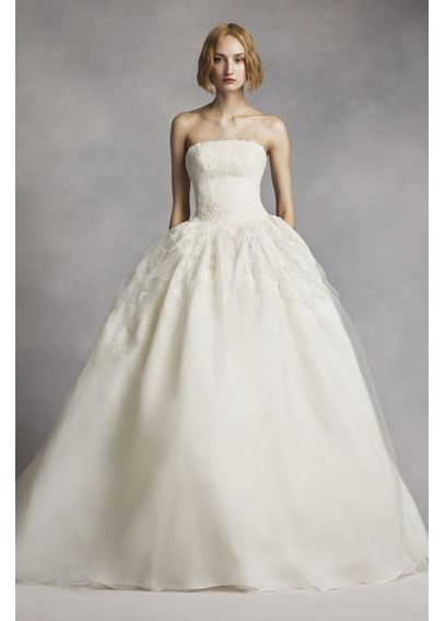 White by vera wang twill gazar lace wedding dress davids for Vera wang princess ball gown wedding dress