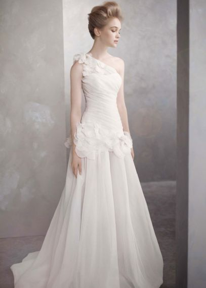 One-Shoulder Basket-Weave Organza Gown VW351090
