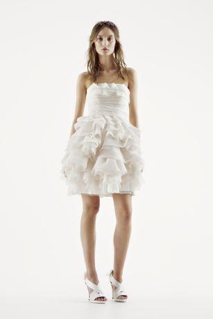 White by Vera Wang Strapless Tiered Wedding Dress | David's Bridal