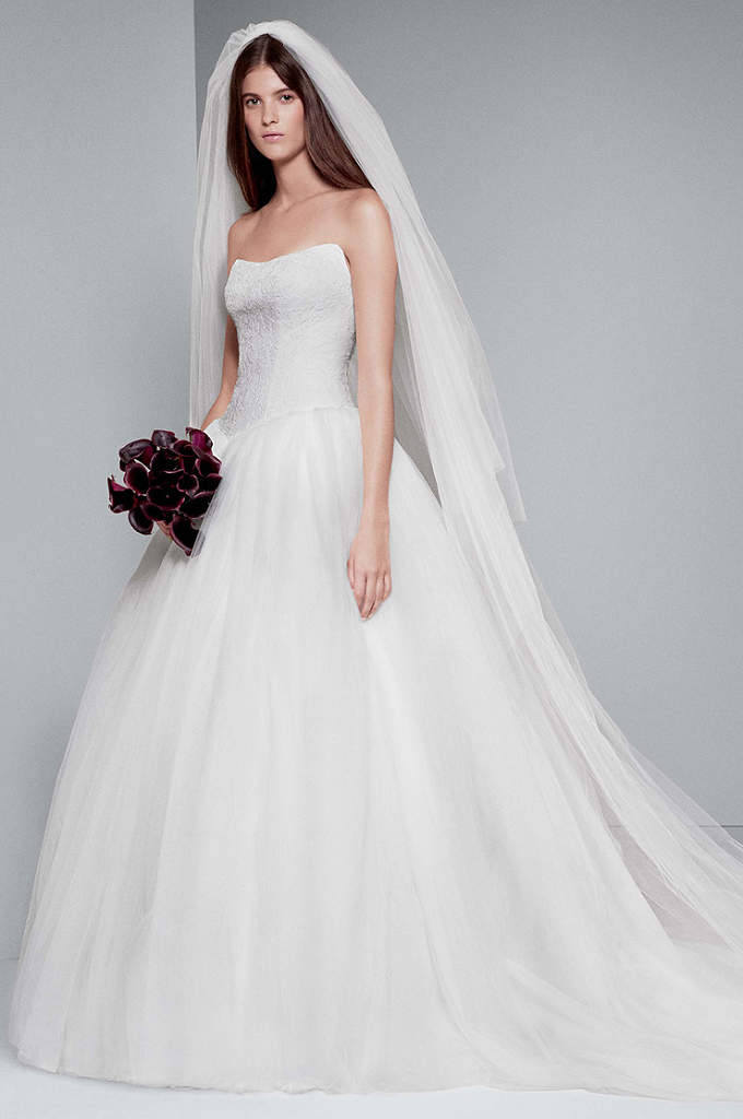 White by vera wang bias tier trumpet wedding dress for Vera wang princess ball gown wedding dress