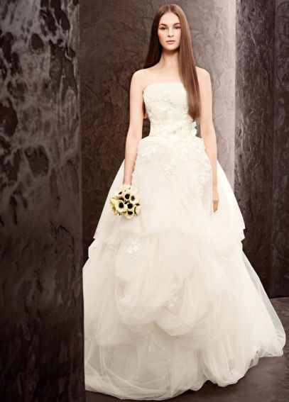 White by Vera Wang Strapless Organza Wedding Dress VW351162