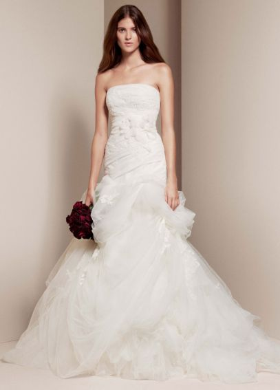White by Vera Wang Strapless Trumpet Wedding Dress VW351166