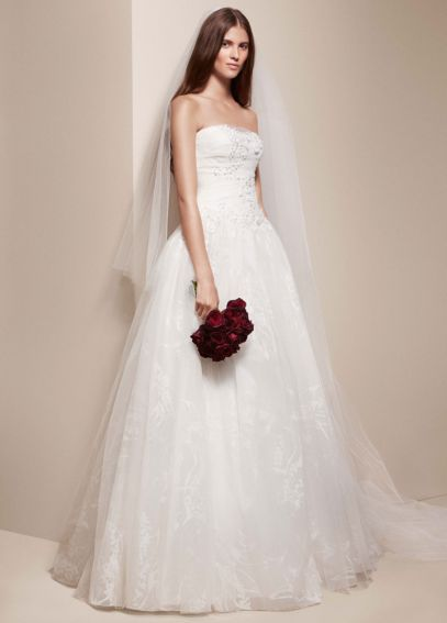 Strapless Ball Gown with Ribbon Floral Detail VW351167