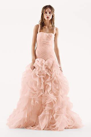 Light pink blush wedding dresses davids bridal long mermaid trumpet modern chic wedding dress white by vera wang junglespirit Images