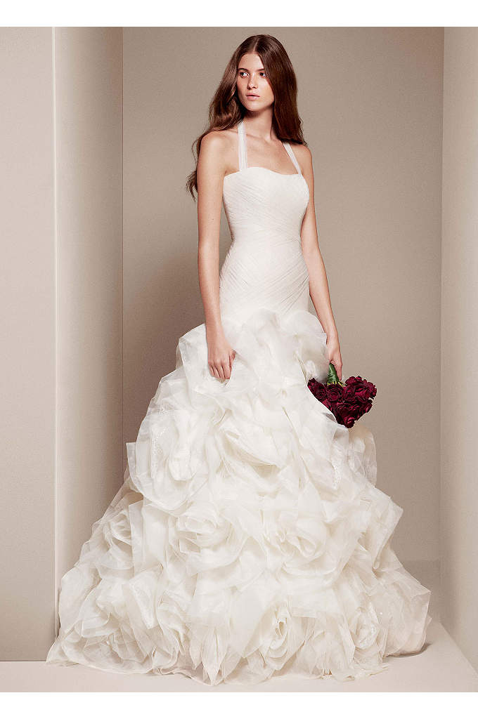 White by Vera Wang Organza and Satin Wedding - Devastatingly beautiful fit and flare wedding dress with