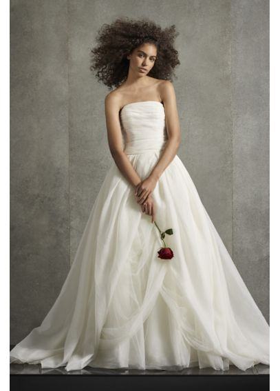 Organza Gown with Draped Bodice and Tulle Skirt VW351178