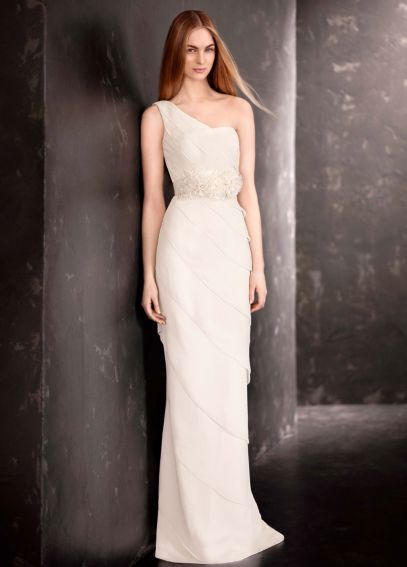 Chiffon One Shoulder Gown with Draped Tiers VW351190